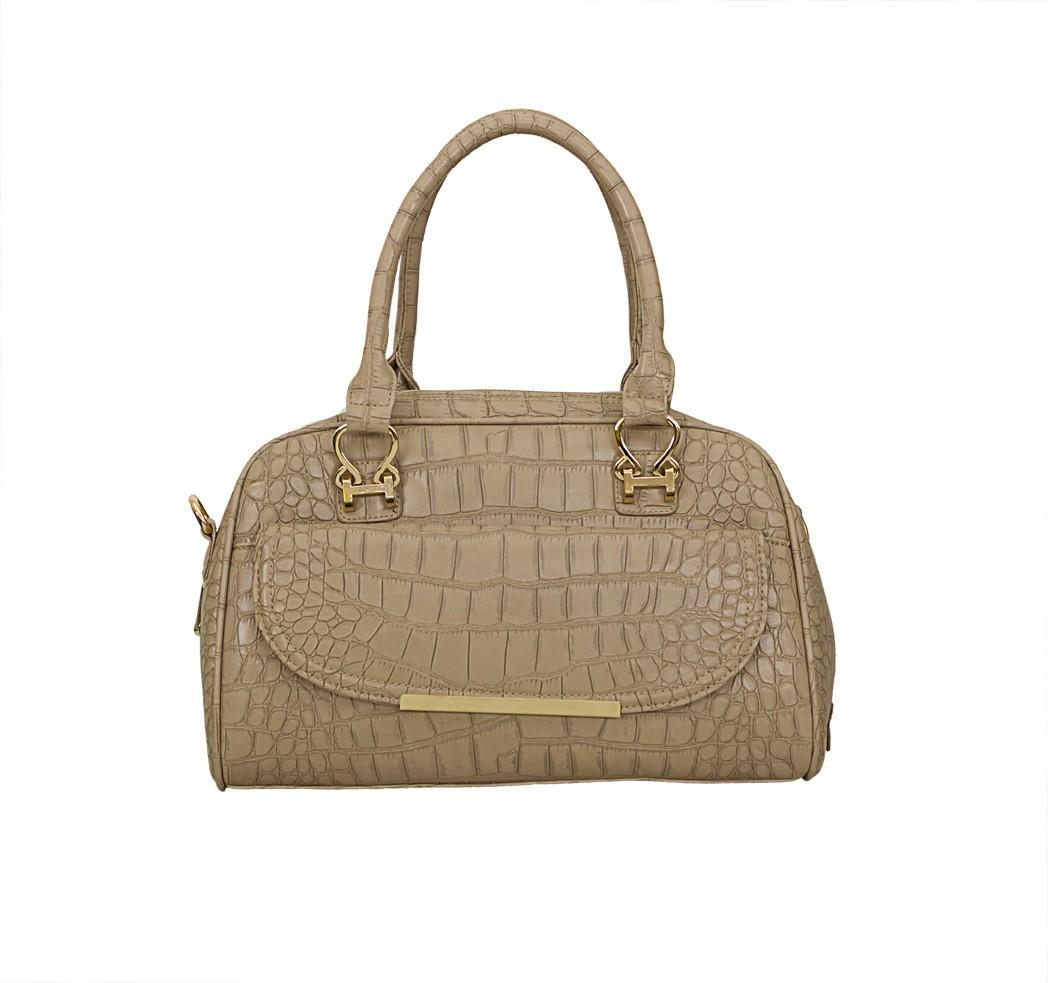 Charley Clark Designer Fashion Handbag in Taupe