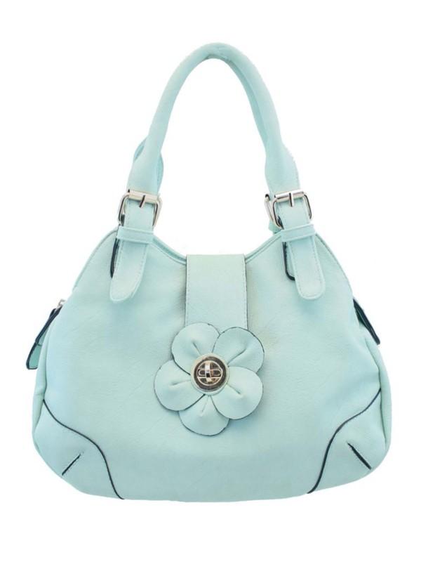 Charley Clark Womens Flower Handbag in Light Blue