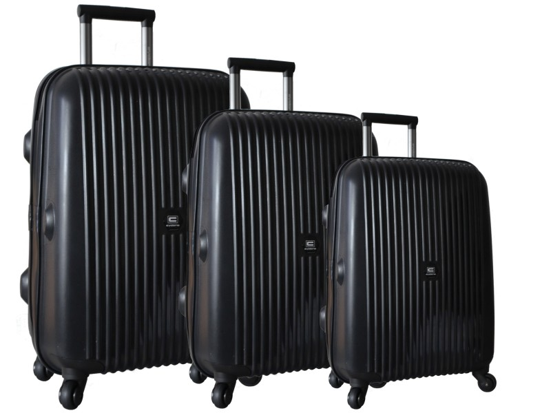 Cyclone Zeus 4 Wheel Polypropylene Black Hard Unbreakable Luggage Set