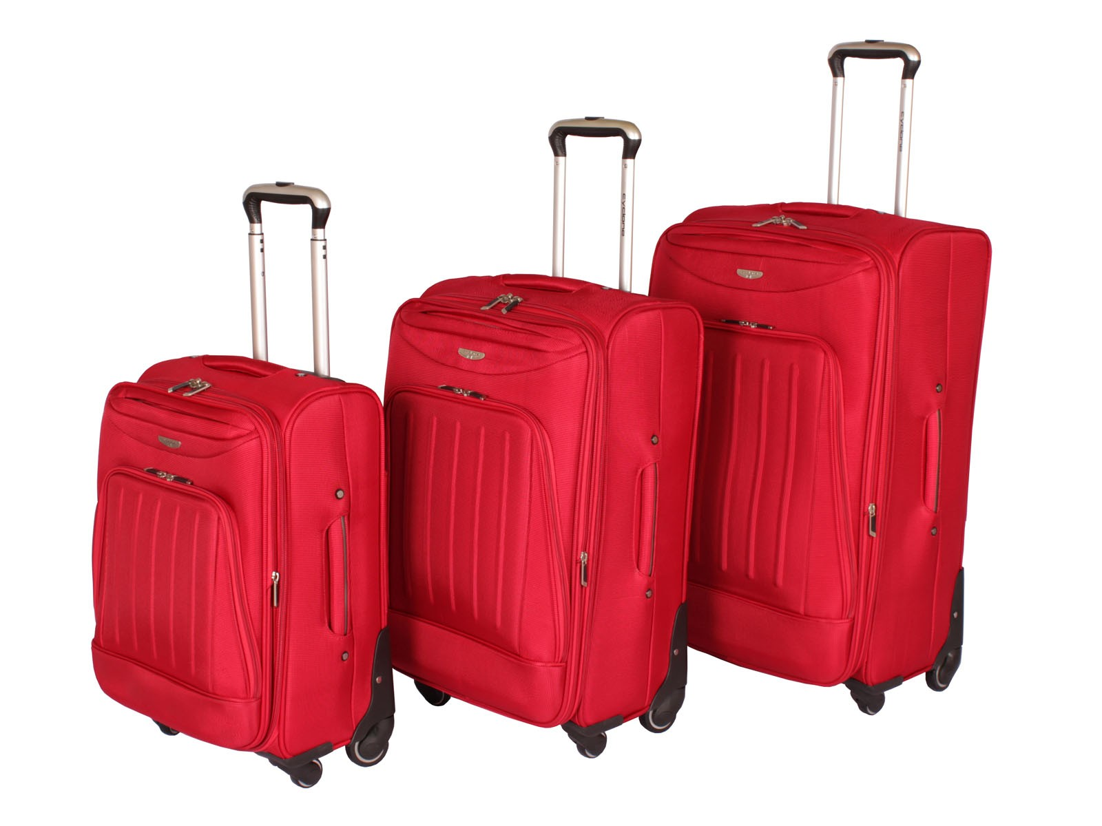 "Cyclone Flo 4 Wheel Luggage Set of 3 ( 20"" / 24"" / 28"" ) Red"