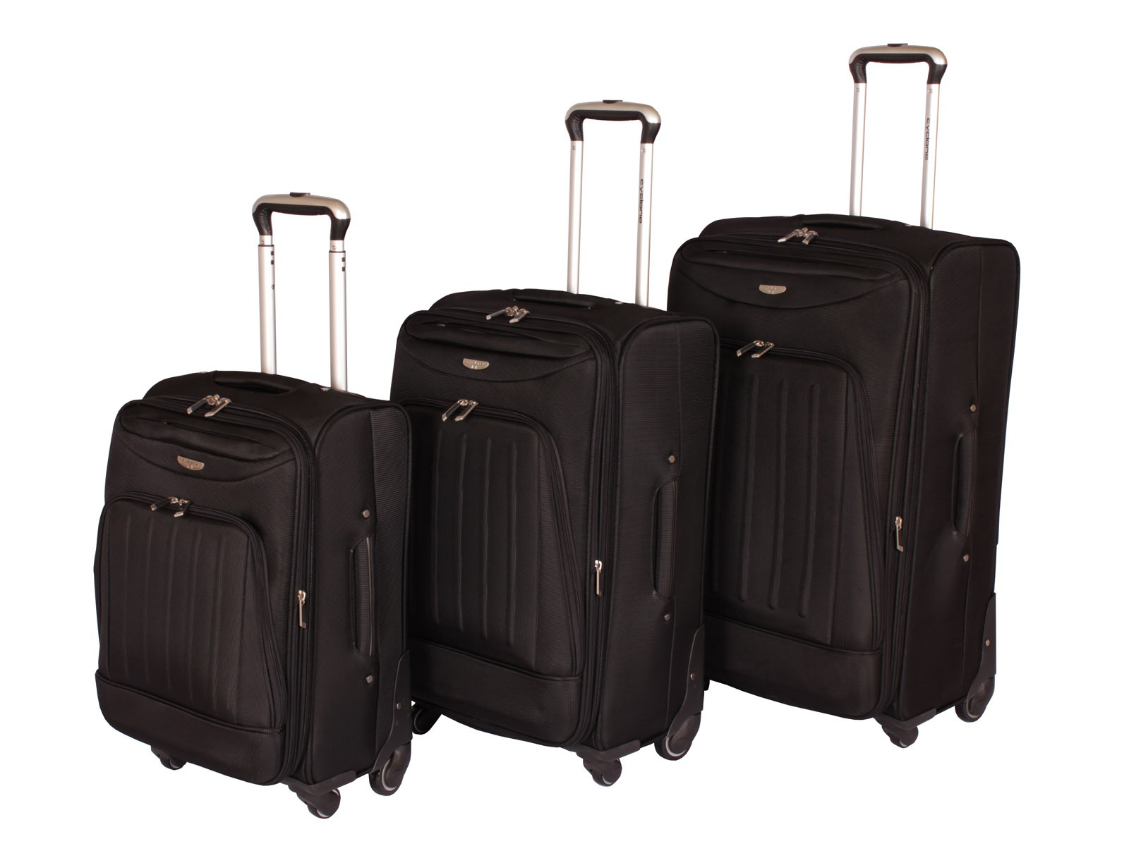 "Cyclone Flo 4 Wheel Luggage Set of 3 ( 20"" / 24"" / 28"" ) Black"
