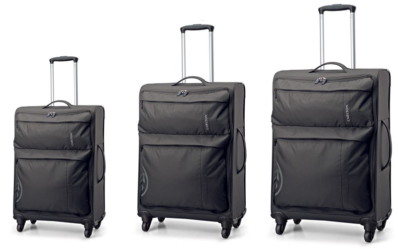 Carlton V-Lite Spinner 4 Wheels Trolley Case Set 80/68/55cm in Black