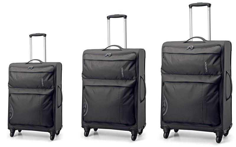 Carlton V-Lite Spinner 4 Wheels Trolley Case Set 80/68/55cm in Black