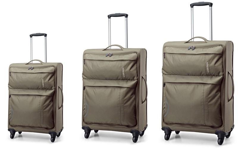 Carlton V-Lite Spinner 4 Wheels Trolley Case Set 80/68/55cm in Khaki