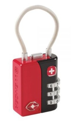 Wenger TSA 3-Dial Combination Cable Lock in Red