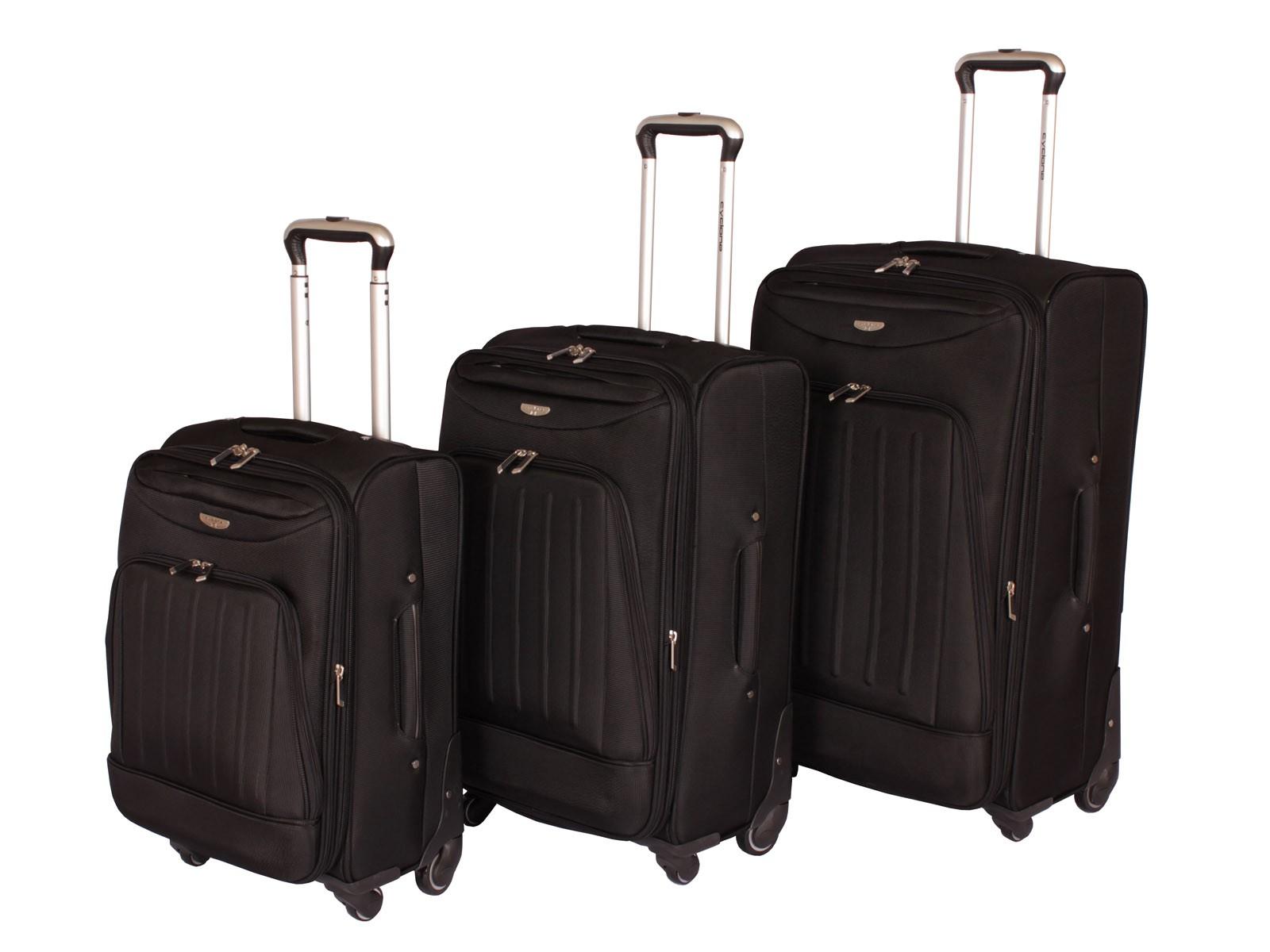 "Cyclone Flo 4 Wheel Luggage Set of 3 ( 20"" / 24"" / 28"" ) Black"